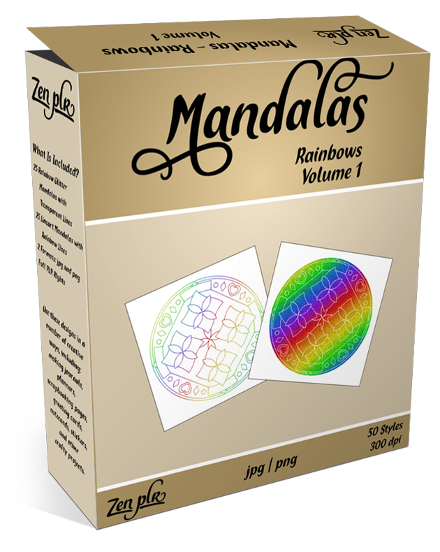 Zen PLR Rainbow Mandalas Bundle Volume 1 OTO2