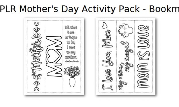 Zen PLR Mothers Day Activity Pack Bookmarks