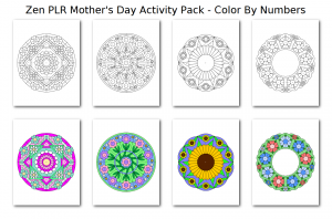 Zen PLR Mothers Day Activity Pack Color By Numbers