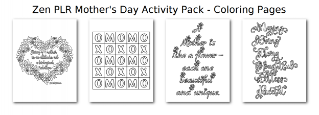Zen PLR Mothers Day Activity Pack Coloring Pages