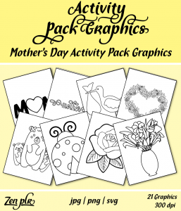 Zen PLR Mothers Day Activity Pack Graphics Front Cover