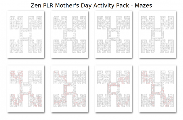 Zen PLR Mothers Day Activity Pack Mazes