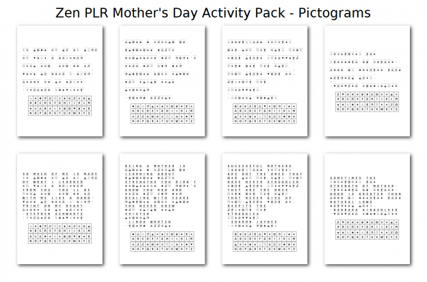 Zen PLR Mothers Day Activity Pack Pictograms
