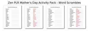 Zen PLR Mothers Day Activity Pack Word Scrambles