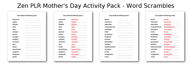 Zen PLR Mothers Day Activity Pack Word Scrambles