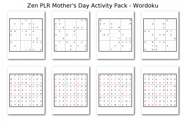 Zen PLR Mothers Day Activity Pack Wordoku
