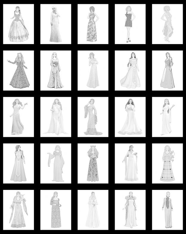 Zen PLR Pencil Sketches Princesses All Graphics