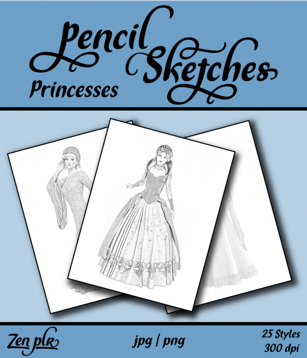 Zen PLR Pencil Sketches Princesses Front Cover