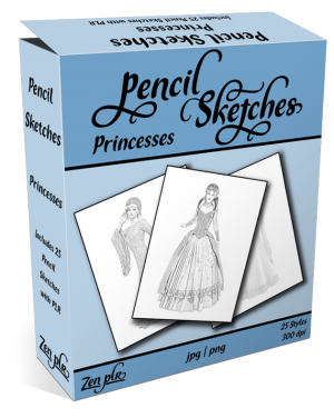Zen PLR Pencil Sketches Princesses Product Cover