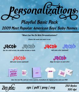 Zen PLR Personalizations Playful 2009 Basic Boys Front Cover