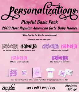 Zen PLR Personalizations Playful 2009 Basic Girls Front Cover