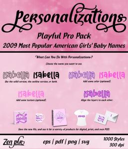 Zen PLR Personalizations Playful 2009 Pro Girls Front Cover
