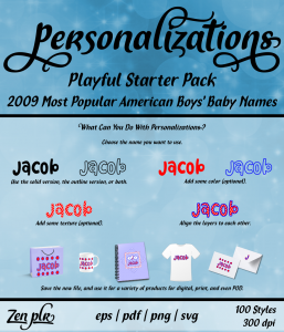 Zen PLR Personalizations Playful 2009 Starter Boys Front Cover