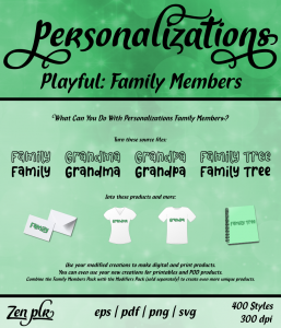 Zen PLR Personalizations Playful Family Members Front Cover