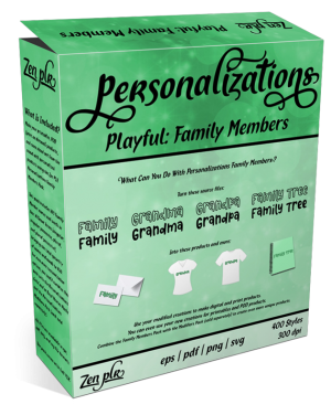 Zen PLR Personalizations Playful Family Members Product Cover