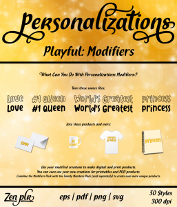 Zen PLR Personalizations Playful Modifiers Front Cover