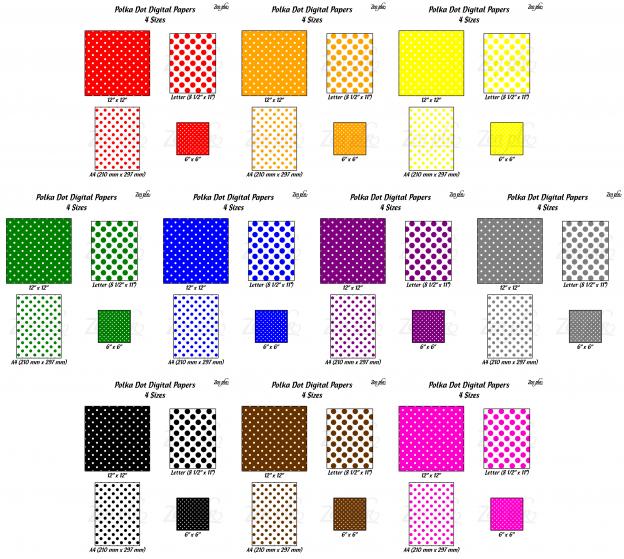 Zen PLR Polka Dots Digital Papers All Bold 4 Sizes