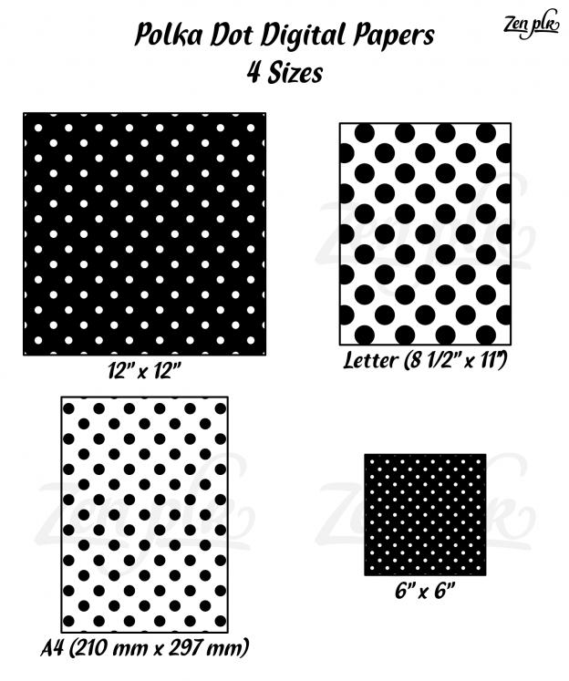 Zen PLR Polka Dots Digital Papers Black 4 Sizes