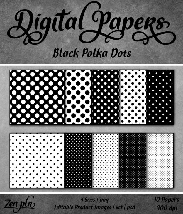 Zen PLR Polka Dots Digital Papers Black Front Cover