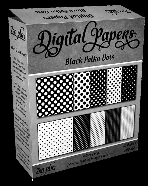 Zen PLR Polka Dots Digital Papers Black Product Cover
