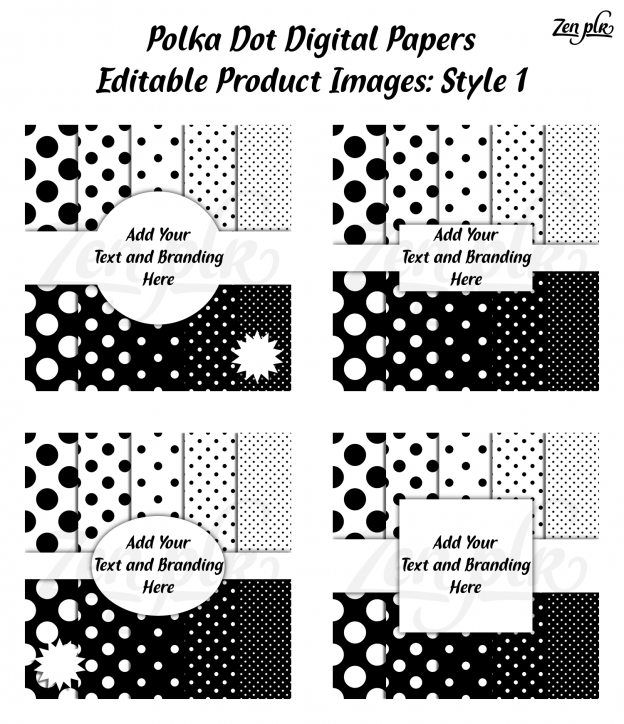 Zen PLR Polka Dots Digital Papers Black Product Image Style 01 Examples
