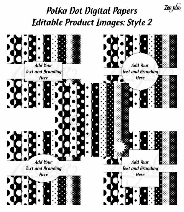 Zen PLR Polka Dots Digital Papers Black Product Image Style 02 Examples