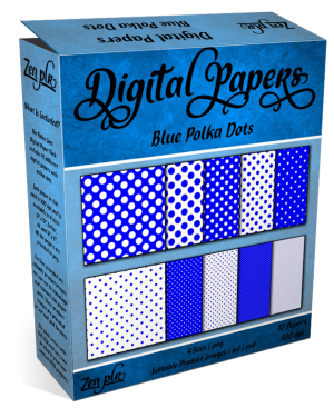 Zen PLR Polka Dots Digital Papers Blue Product Cover