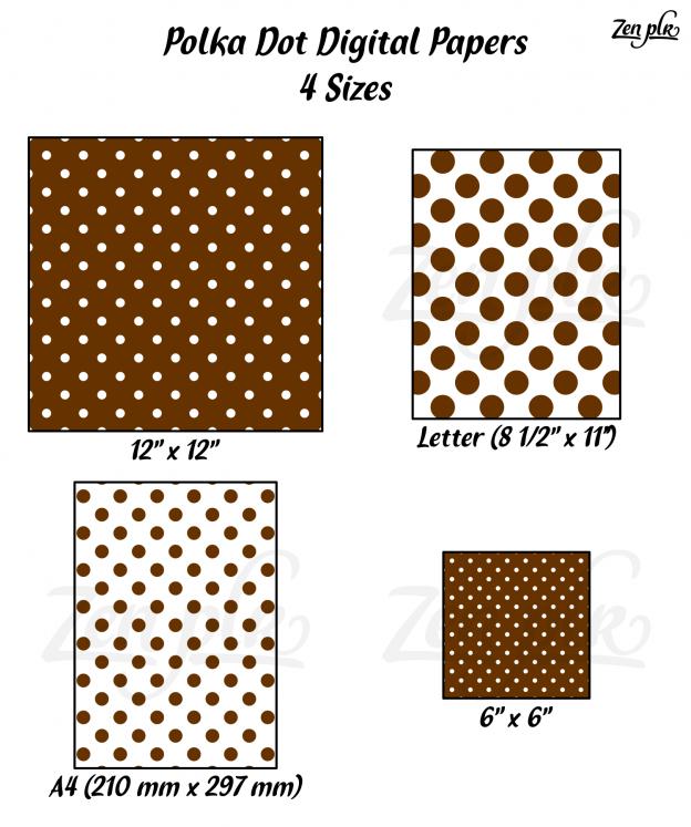 Zen PLR Polka Dots Digital Papers Brown 4 Sizes
