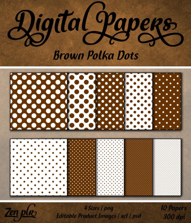 Zen PLR Polka Dots Digital Papers Brown Front Cover