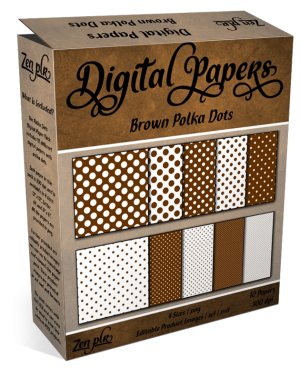 Zen PLR Polka Dots Digital Papers Brown Product Cover