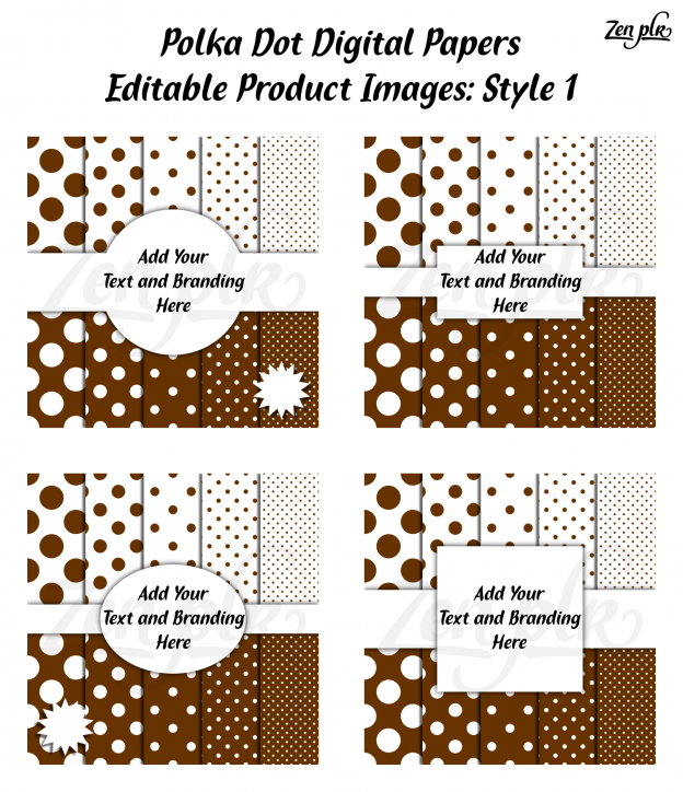 Zen PLR Polka Dots Digital Papers Brown Product Image Style 01 Examples