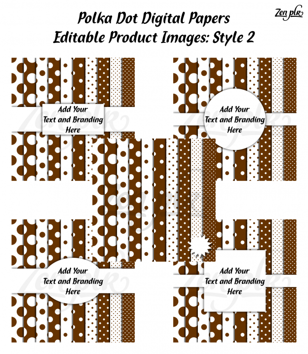 Zen PLR Polka Dots Digital Papers Brown Product Image Style 02 Examples