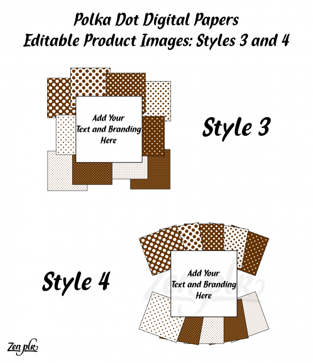 Zen PLR Polka Dots Digital Papers Brown Product Image Styles 03 and 04 Examples