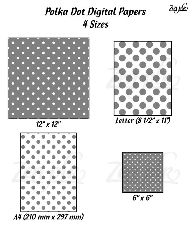 Zen PLR Polka Dots Digital Papers Gray 4 Sizes