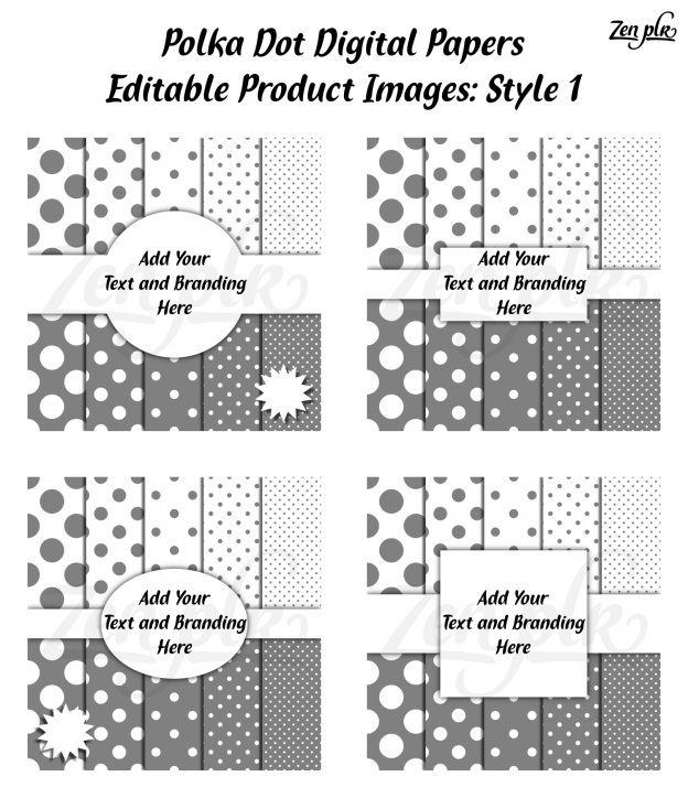 Zen PLR Polka Dots Digital Papers Gray Product Image Style 01 Examples