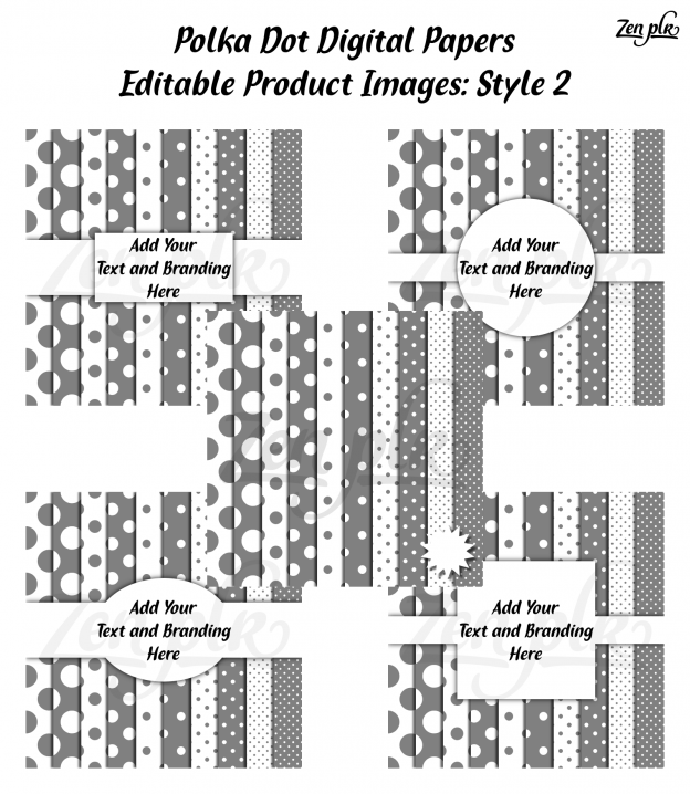 Zen PLR Polka Dots Digital Papers Gray Product Image Style 02 Examples