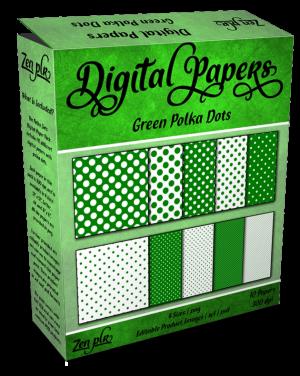 Zen PLR Polka Dots Digital Papers Green Product Cover