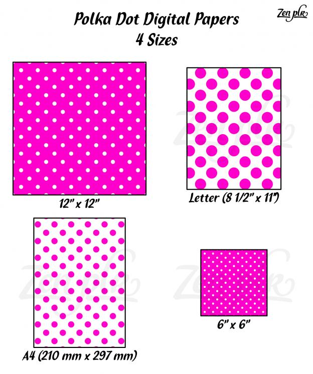 Zen PLR Polka Dots Digital Papers Hot Pink 4 Sizes
