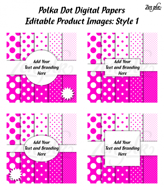 Zen PLR Polka Dots Digital Papers Hot Pink Product Image Style 01 Examples