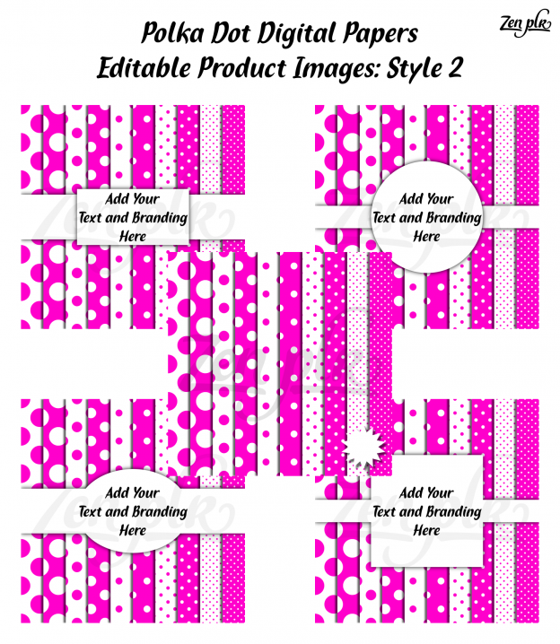 Zen PLR Polka Dots Digital Papers Hot Pink Product Image Style 02 Examples