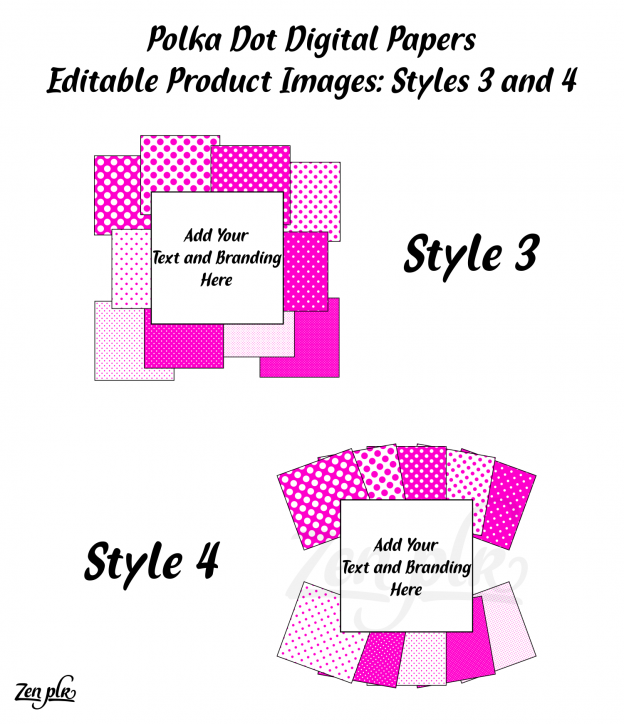 Zen PLR Polka Dots Digital Papers Hot Pink Product Image Styles 03 and 04 Examples