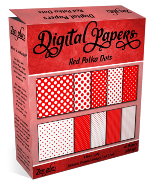 Zen PLR Polka Dots Digital Papers Red Product Cover