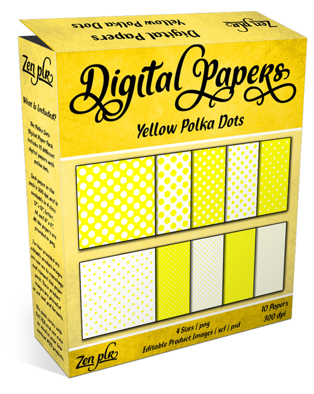 Zen PLR Polka Dots Digital Papers Yellow Product Cover