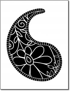Zen PLR Pretty Paisleys Volume 01 Sample Paisley 01 Black