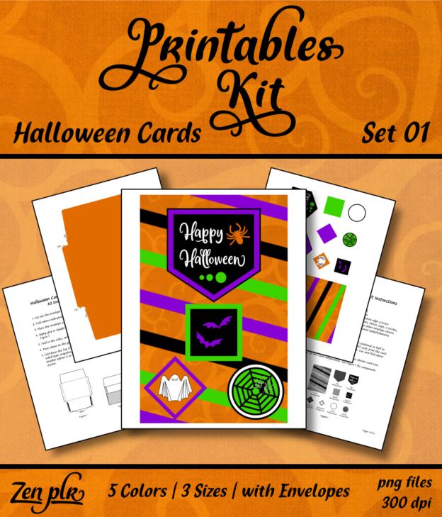 Zen PLR Printables Kit Halloween Cards Front Cover
