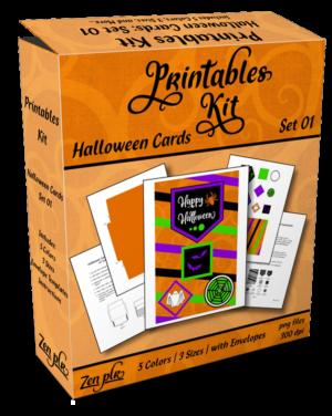 Zen PLR Printables Kit Halloween Cards Product Cover