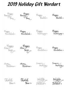 Zen PLR Typography 2019 Holiday Gift Wordart