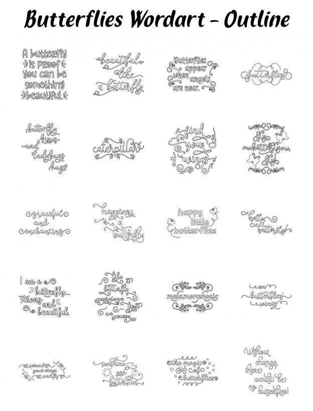 Zen PLR Typography Butterflies Wordart Outline
