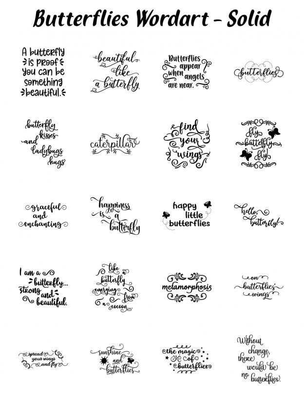 Zen PLR Typography Butterflies Wordart Solid