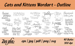 Zen PLR Typography Cats and Kittens Wordart Outline